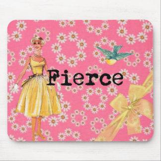 Fierce vintage style pink mousepad