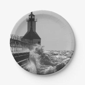 Fierce Waves At St Joseph Grayscale Paper Plate