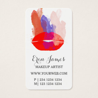 Fiercely Hot Red Lips Watercolor Makeup Artist Business Card