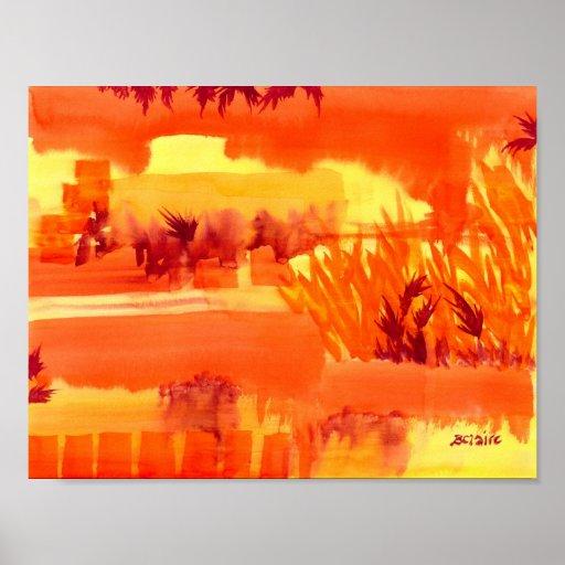 Fiery Autumn Field Posters