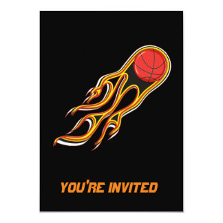 Fiery Basketball with Comet Tail Logo Card