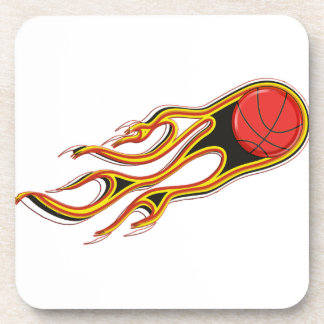 Fiery Basketball with Comet Tail Logo Drink Coaster
