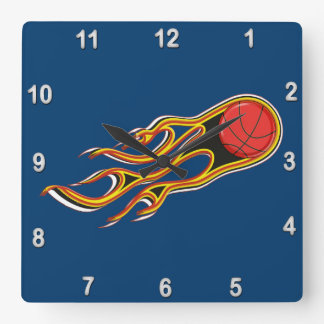Fiery Basketball with Comet Tail Logo Square Wall Clock