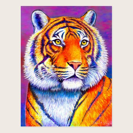 Fiery Beauty Colorful Bengal Tiger Art Postcard
