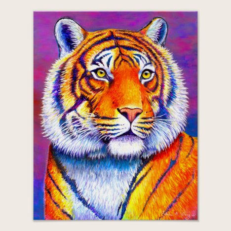 Fiery Beauty Colorful Bengal Tiger Art Print