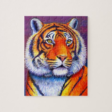 Fiery Beauty Colorful Bengal Tiger Puzzle