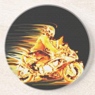 Fiery Biker Motorcycle Fantasy Art Coaster