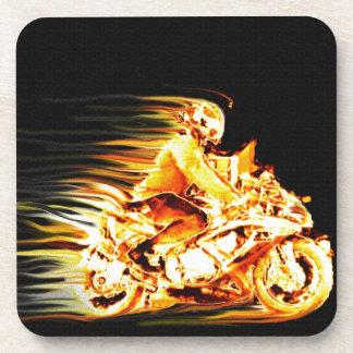 Fiery Biker Motorcycle Fantasy Art Drink Coaster