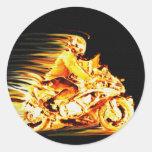 Fiery Biker Motorcycle Fantasy Art Sticker