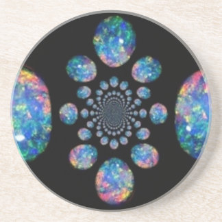 Fiery Blue Opal Jewels by Sharles Beverage Coaster
