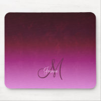Fiery Burgundy Pink Ombre Monogram Mouse Pad
