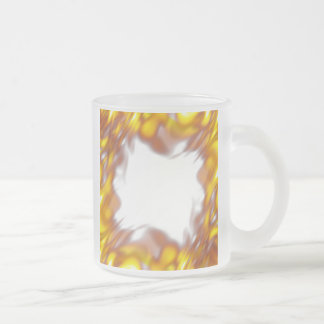 Fiery Burning Flames Border Frosted Glass Coffee Mug