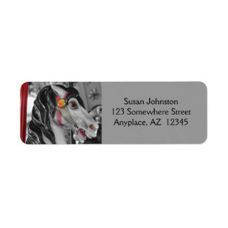 Fiery Carousel Horse Black And White Address Label