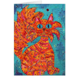 Fiery Cat on Turquoise Card