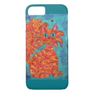 Fiery Cat on Turquoise iPhone 8/7 Case
