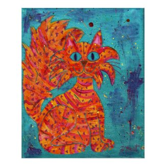 Fiery Cat on Turquoise print