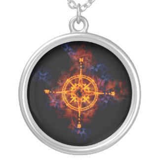 Fiery Compass Round Pendant Necklace