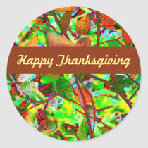 Fiery Fall Leaves Custom Happy Thanksgiving Classic Round Sticker