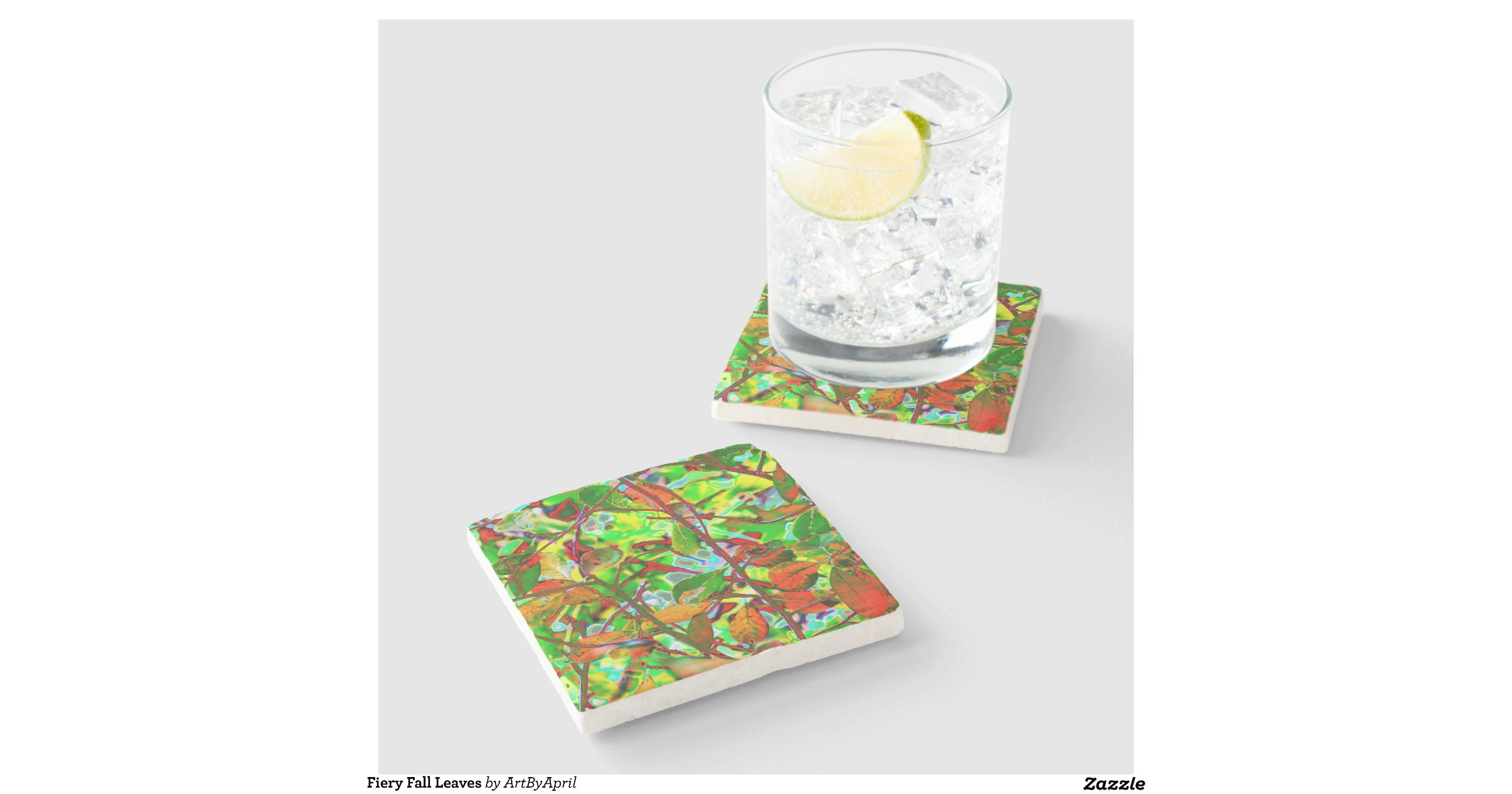 Fiery fall leaves stone beverage coaster zazzle - Stone coasters for drinks ...