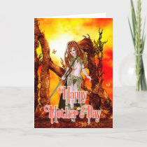 Fiery Fantasy Elf - Mother's Day Card