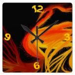 Fiery Fantasy Phoenix Square Wall Clock