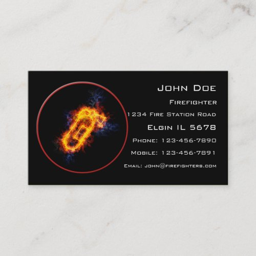 Fiery Fire Extinguisher Business Card