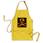 Fiery Flaming Skull and Crossbones Adult Apron