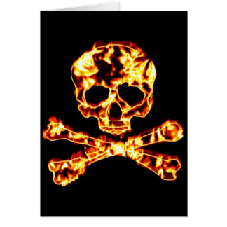 Fiery Flaming Skull and Crossbones Greeting Cards