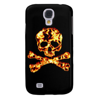 Fiery Flaming Skull and Crossbones Galaxy S4 Cases