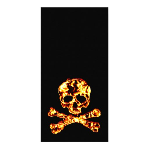 Fiery Flaming Skull and Crossbones Photo Card