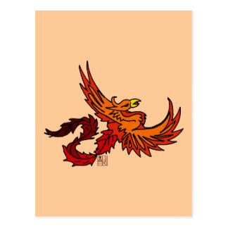Fiery Flying Phoenix of Autumn Postcard