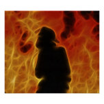 Fiery Fractalius Firefighter Posters