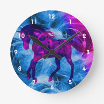 Fiery Galloping Black Horse Animal Art Round Clock