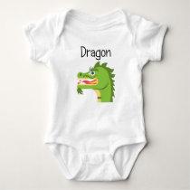Fiery Green Dragon Baby Bodysuit