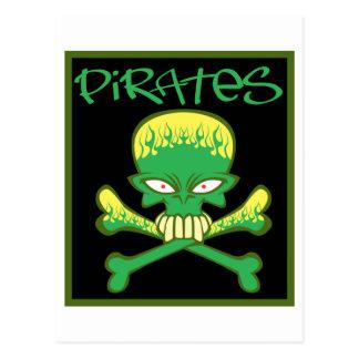 Fiery Green Pirates Postcard