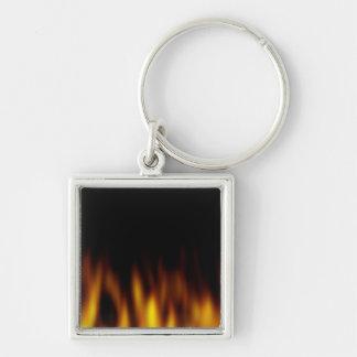 Fiery Hot Flames Backdrop Keychain