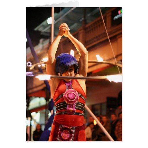 Fiery hula hoop card