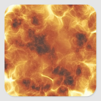 Fiery Inferno Explosion Textured Square Sticker