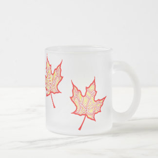 Fiery Leaves Frosted Glass Coffee Mug