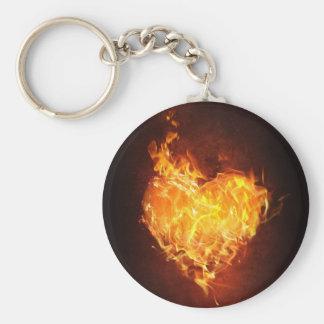fiery Love Button Keychain
