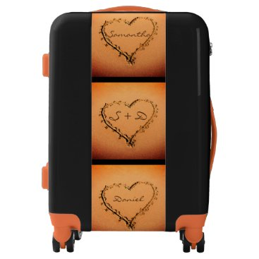 Beach Themed Fiery Love Hearts on the Beach Personalized Names Luggage