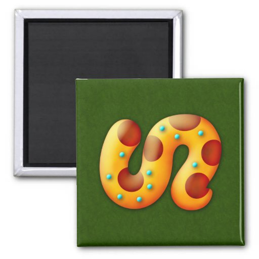 Fiery Maya Animal Tail 2 Inch Square Magnet