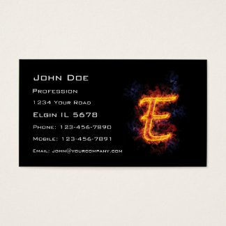 Fiery Monogram E Business Card
