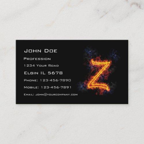 Fiery Monogram Z Business Card