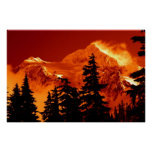 Fiery Mountain Scene Poster