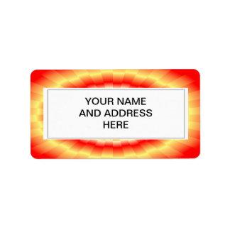"Fiery muticolored ""bulls-eye"" background address label"