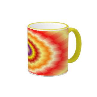"Fiery muticolored ""bulls-eye"" background ringer mug"