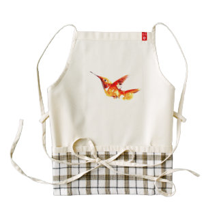 """Fiery One"" Hummingbird Print on Zazzle HEART Apron"