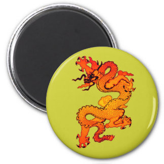 Fiery Orange and Red Dragon Art 2 Inch Round Magnet