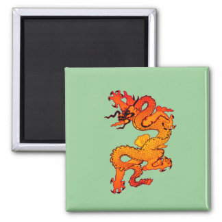 Fiery Orange and Red Dragon Art 2 Inch Square Magnet